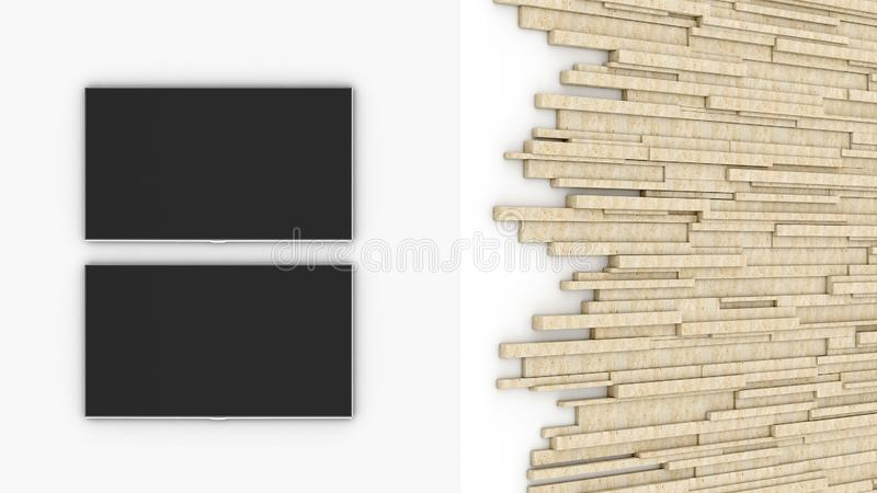 White wall. Tv studio. White studio. Travertine. 3D rendering. Empty screen vector illustration