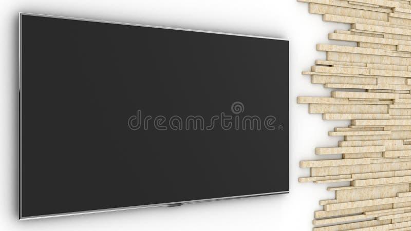 White wall. Tv studio. White studio. Travertine. 3D rendering. Empty screen stock illustration