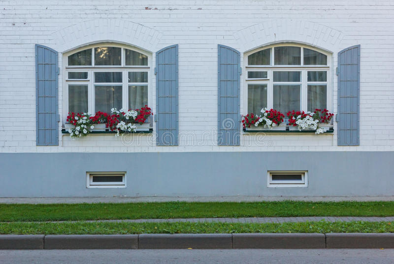 White wall with two windows and flowers stock images