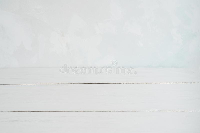 White wall and white wooden floor as a background royalty free stock images