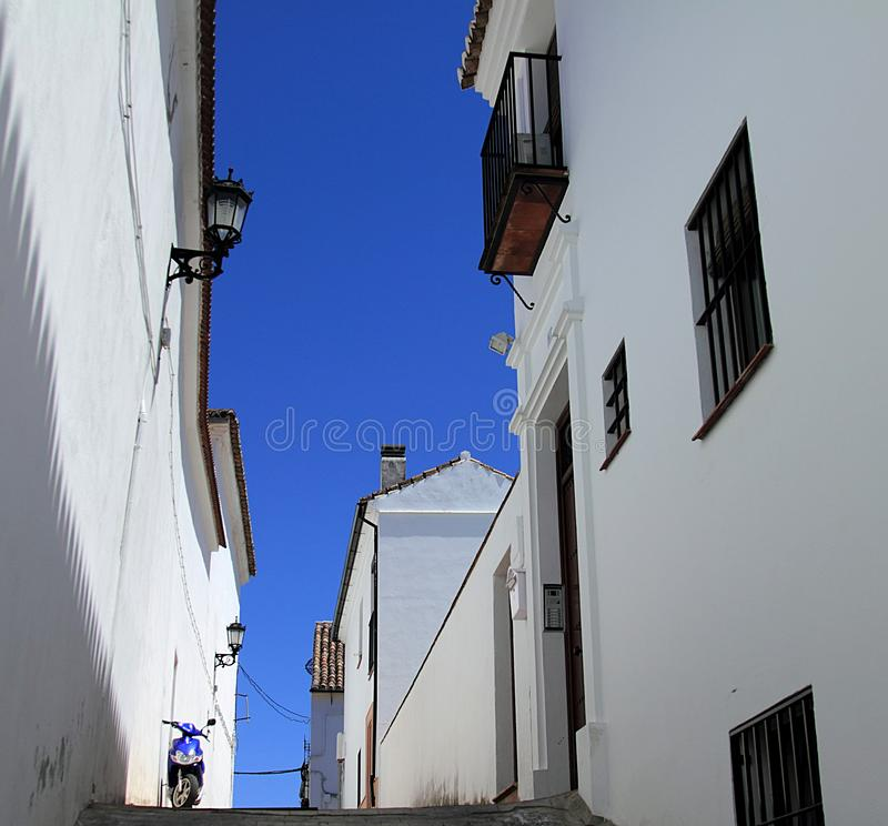 White walls and blue sky. Ronda, Spain. White walls and blue sky royalty free stock photos