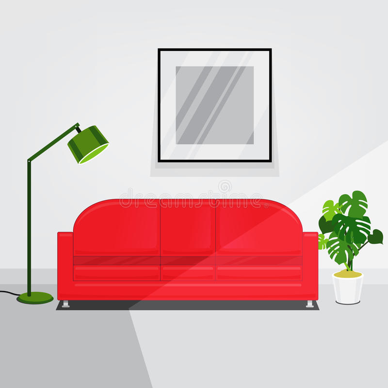 Vector Of Living Room Stock Vector Image Of Sofa: White Walls Living Room Interior With Red Sofa Stock