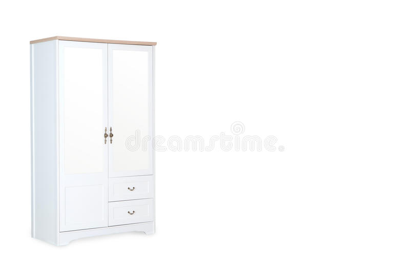 White wardrobe isolated on white background. With space for copy stock image