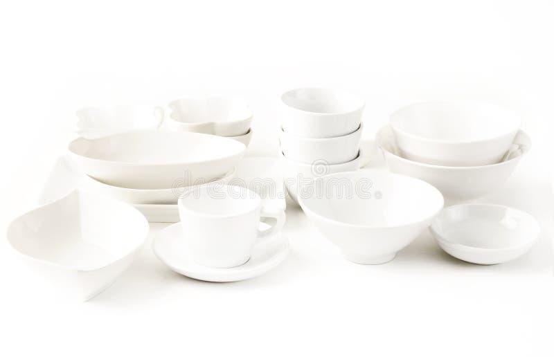 White ware. On white background stock photos