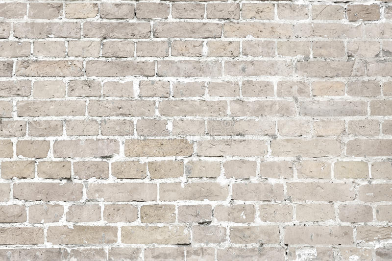 White washed old brick wall horizontal background royalty free stock photo
