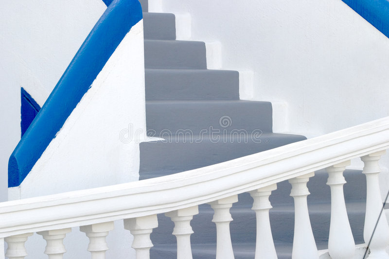 White washed walls and grey steps, typical of many homes on Santorini. Thíra or Thera, a volcanic island in the south east of Greece, in the Aegean Sea. One stock images