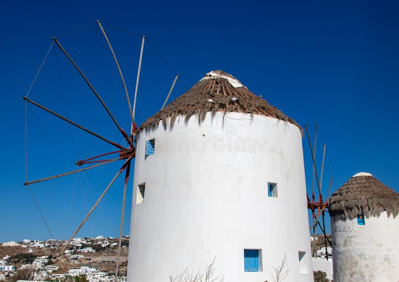 White-Washed Windmills of the Greek Isle of Mykonos royalty free stock photography