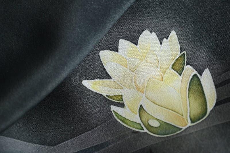 White water lilies. On a black background, silk texture, glow, illustration, batik technique vector illustration