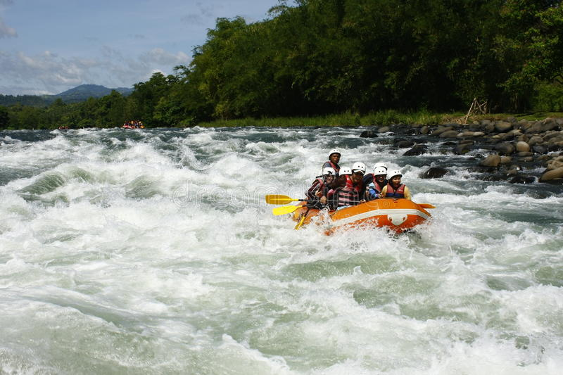 White Water Rafting in Cagayan De Oro Philippines. A photo of white water rafters in a river in Cagayan De Oro, Mindanao, Philippines royalty free stock photography