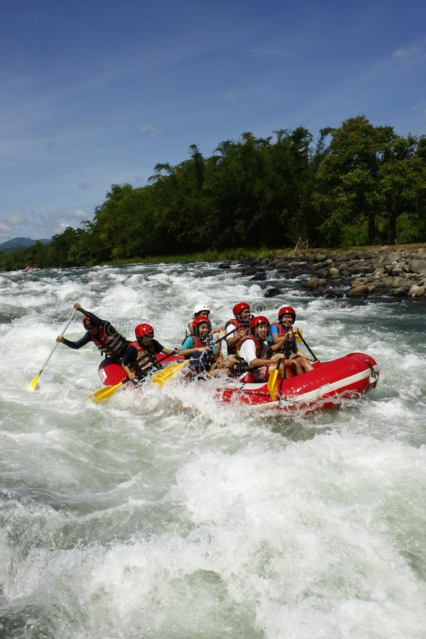 White Water Rafting in Cagayan De Oro Philippines. A photo of white water rafters in a river in Cagayan De Oro, Mindanao, Philippines stock photos