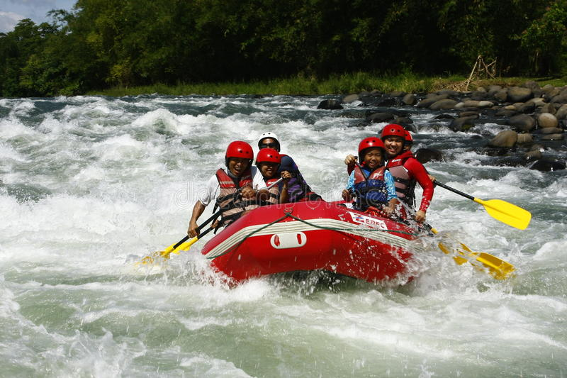 White Water Rafting in Cagayan De Oro Philippines. A photo of white water rafters in a river in Cagayan De Oro, Mindanao, Philippines royalty free stock photo