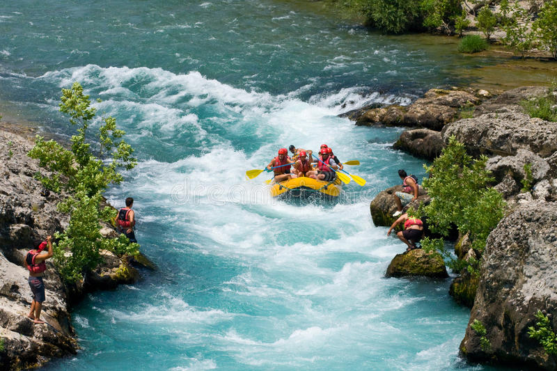 White water rafting on the rapids of river Manavgat in Green Canyon stock image
