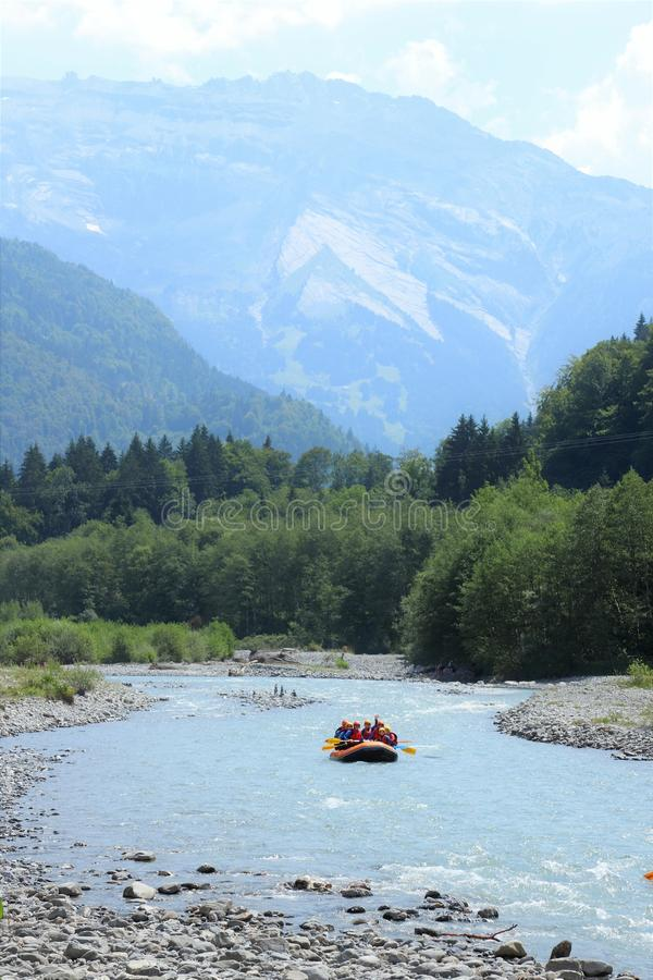 White water rafting in Samoens, French Alps stock images