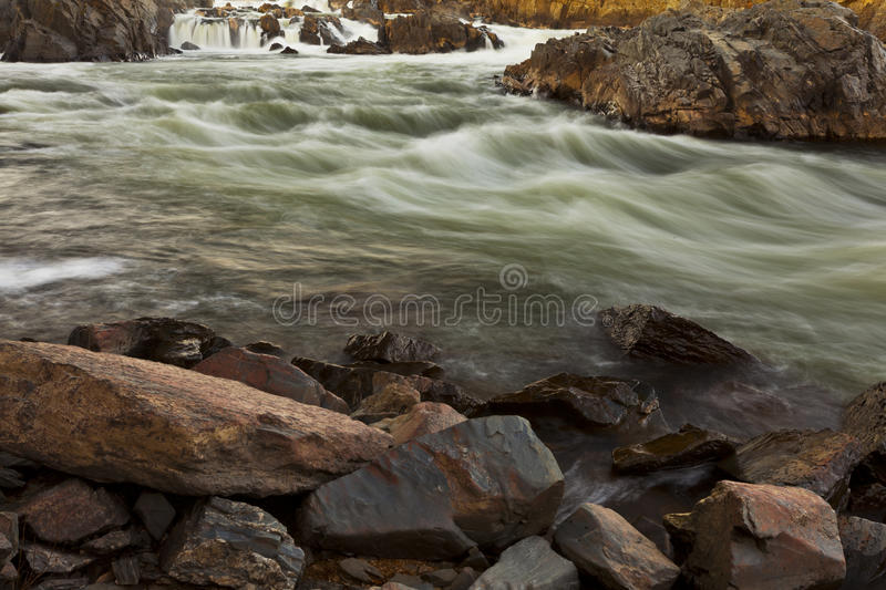 White water river in warm sunset light royalty free stock photo