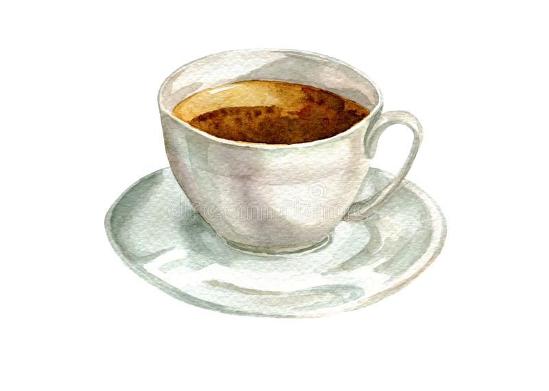 White watercolor cup of tea. On white background royalty free illustration