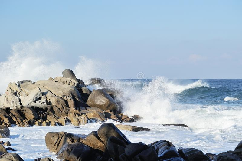 White waters in seaside stock photography