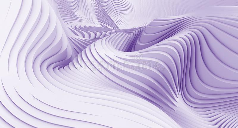 White purple Wave Background. Abstract Minimal Exterior Design. Creative Architecture Concept. 3d Rendering wallpaper royalty free illustration