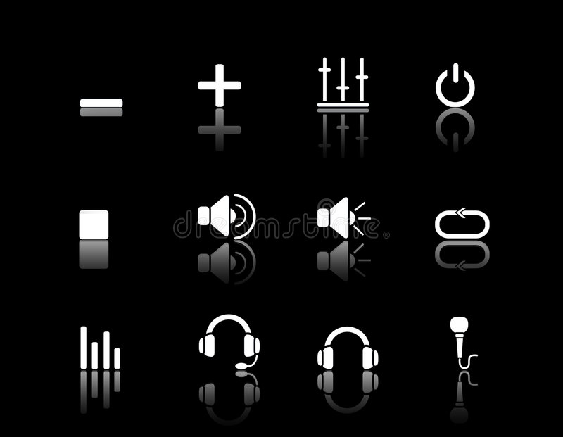 Download White Web Icons Multimedia & Audio Royalty Free Stock Photography - Image: 3941977