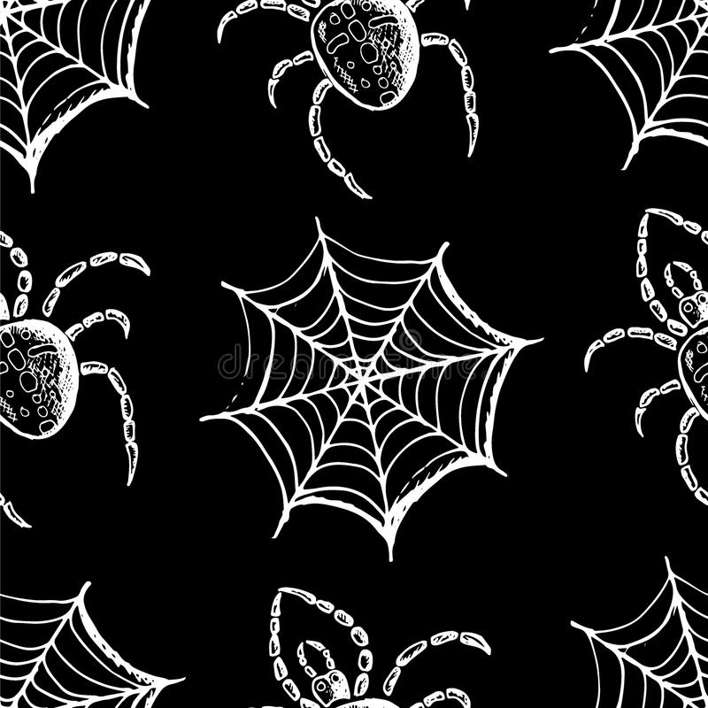 White webs and spiders on a black background. Seamless pattern, hand drawn set of halloween attributes, white webs and spiders on a black background royalty free illustration