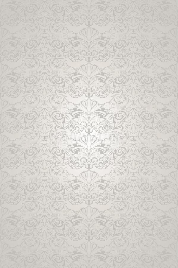 White wedding background with a pearl shine, royal, vintage with classic Baroque pattern, Rococo. With darkened edges background vector illustration
