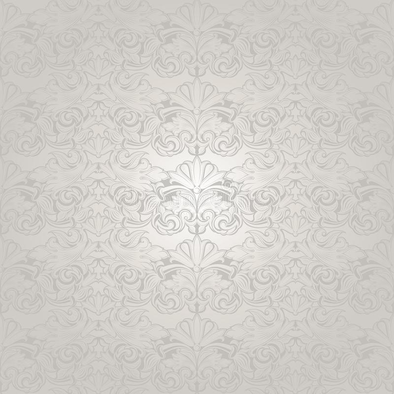 White wedding background with a pearl shine, royal, vintage with classic Baroque pattern, Rococo stock illustration