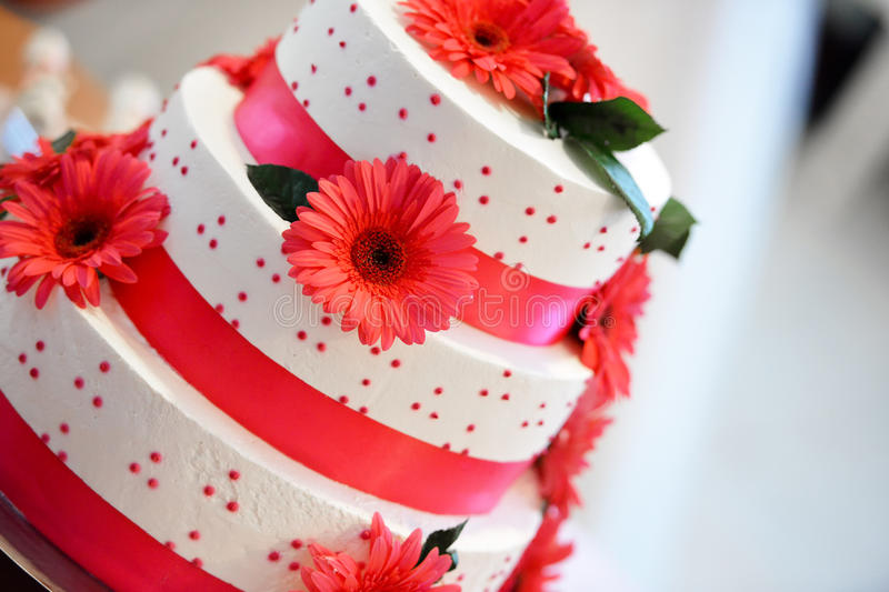 White wedding cake. For a groom and bride royalty free stock photography