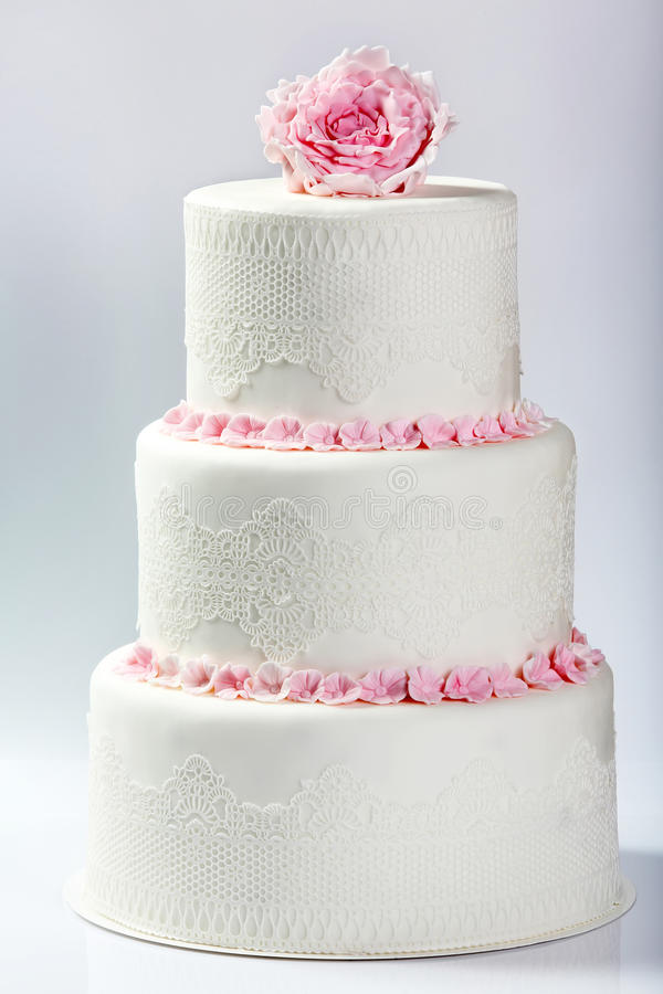 White Wedding Cake With Pink Rose Stock Image - Image of celebration ...