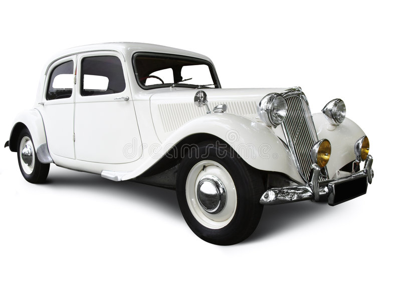 White Wedding Car. Isolated on a white background royalty free stock photos