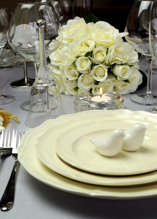 White Wedding Dining Table Setting - Close Up Stock Image - Image of ...