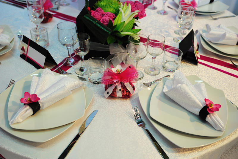 Elegant wedding dinner reception table royalty free stock photography