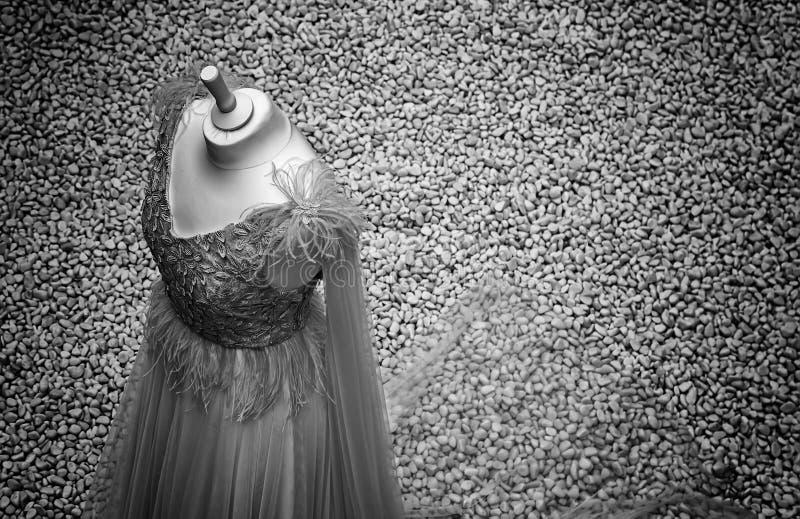 White wedding dress. In celebration, beauty and fashion stock image