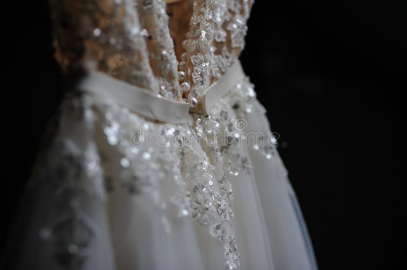 White wedding dress close view from the back royalty free stock photo
