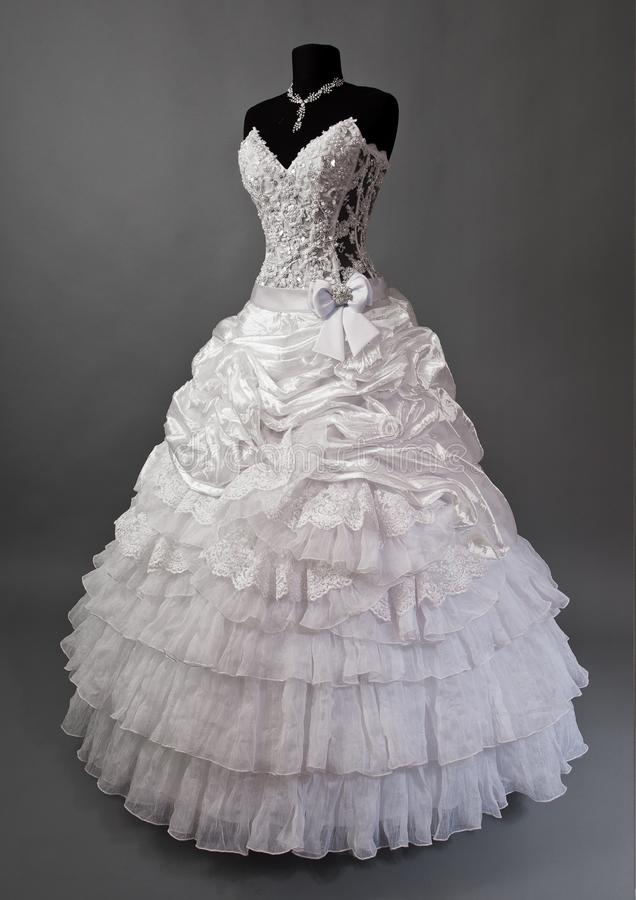 White Wedding Dress On A Mannequin Stock Image - Image of marriage ...