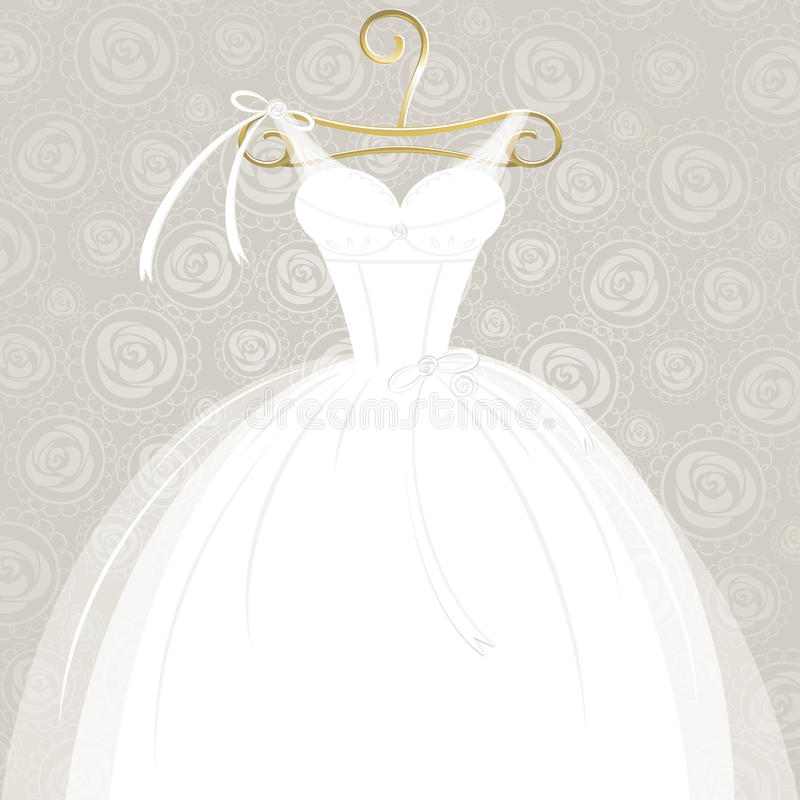 White wedding gown. Beautiful white wedding gown on golden hanger and ornamental background. Vector illustration stock illustration
