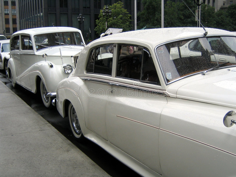 White wedding retro cars stock image