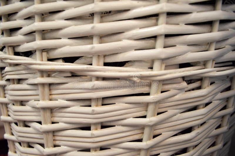 White wicker straw, circular pattern, background. stock photography