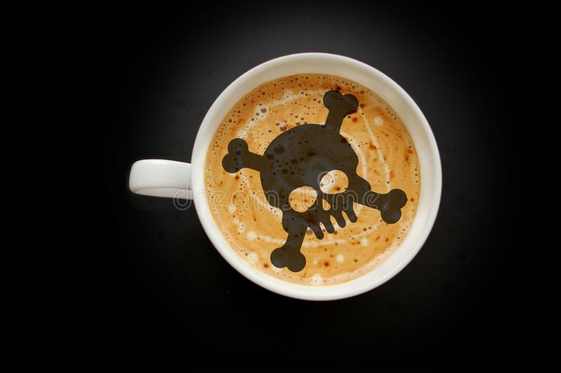 White wide cup of coffee, skull-shaped cappuccino on a black background with vignette, top view, save space, close-up, danger royalty free stock photos