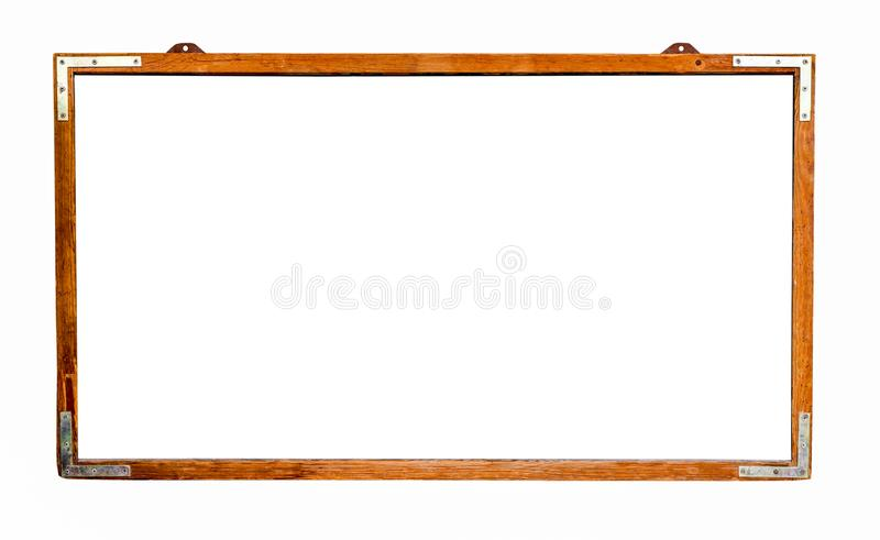 White wide old grungy vintage wooden empty chalkboard frame isolated on white background with large negative space for text messag stock images
