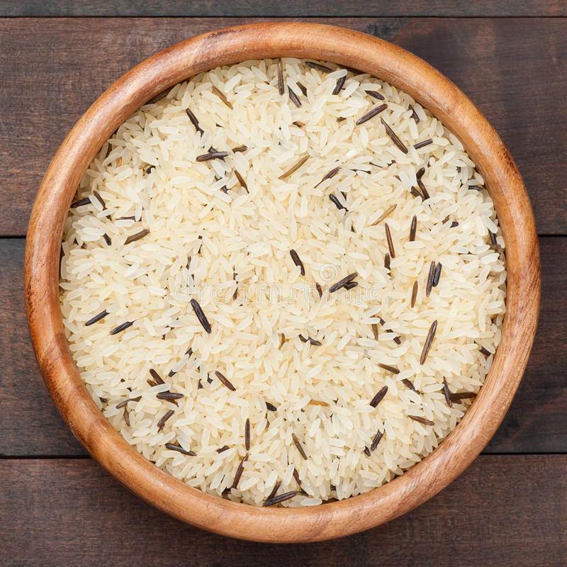 Download White And Wild Rice In Wooden Bowl On Table Stock Image - Image: 28843453
