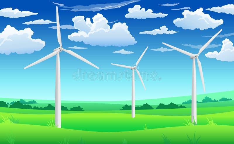 White wind generators mills, wind turbine on green field, wind energy eco concept. White wind generators, mills, wind turbine on green field and blue sky royalty free illustration