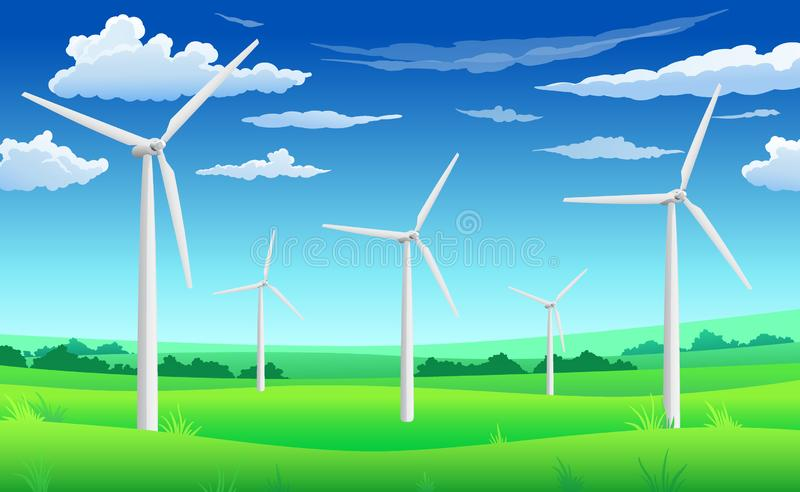 White wind generators mills, wind turbine on green field, wind energy eco concept royalty free illustration