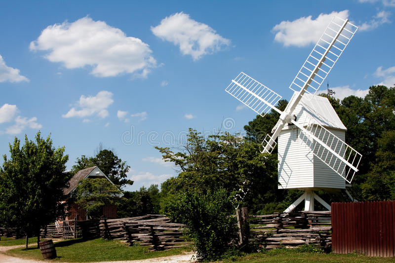 Download White windmill stock photo. Image of trees, energy, wind - 10065014