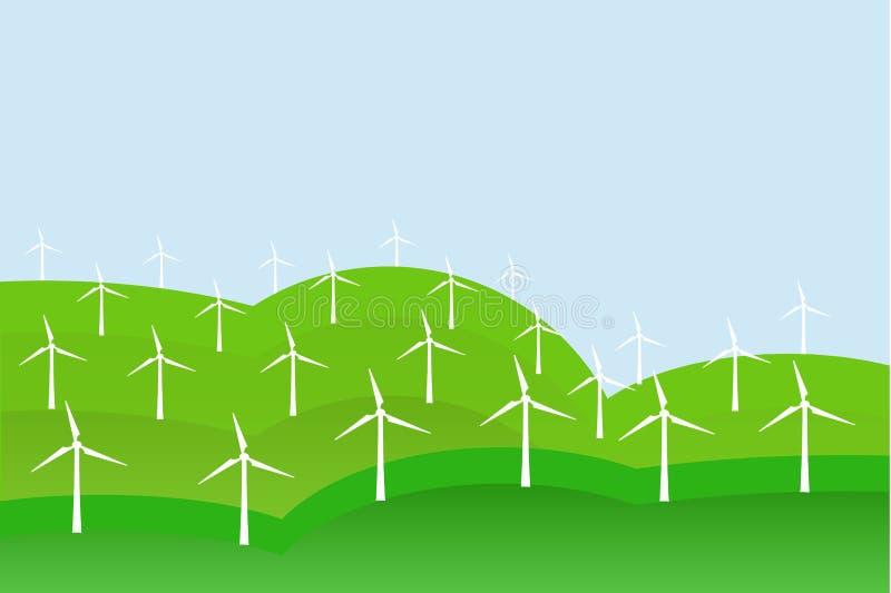 White windmills on green fields, blue sky, landscape, background vector illustration