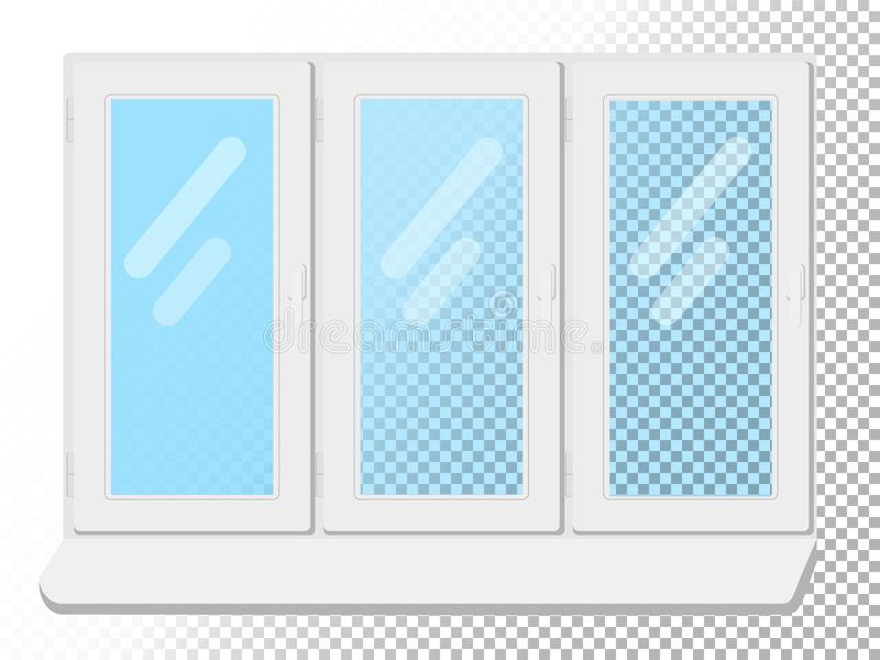 White window on white background. Clear glass. Vector illustration stock illustration