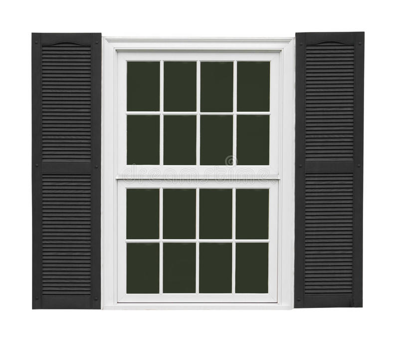 White window with black shutters isolated. Old white wooden double sash window with black shutters. Isolated on white royalty free stock images