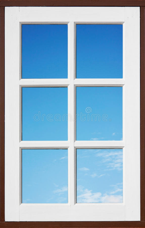 White Window With Blue Sky Royalty Free Stock Photography
