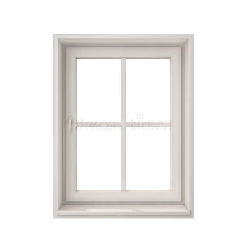 White window frame isolated on white background. Closed one stock photos