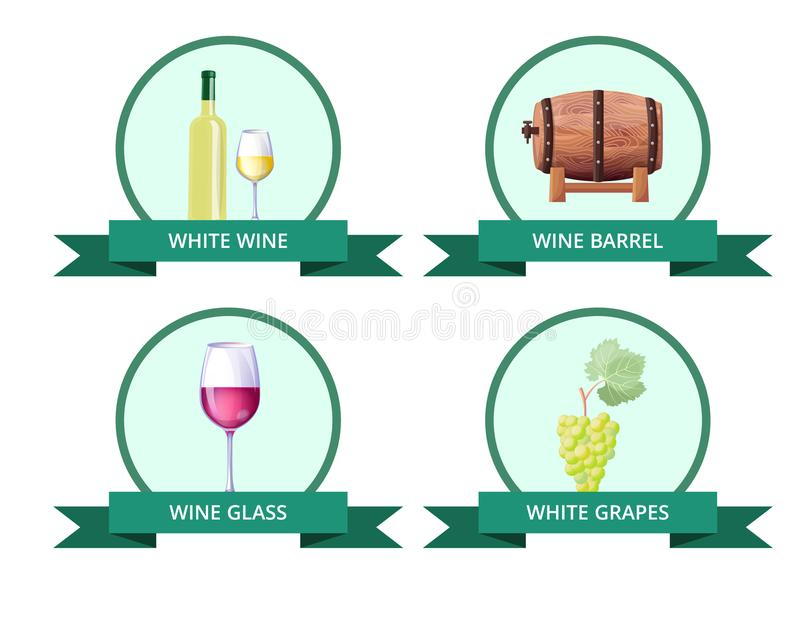 White Wine and Barrel, Glass Vector Illustration vector illustration