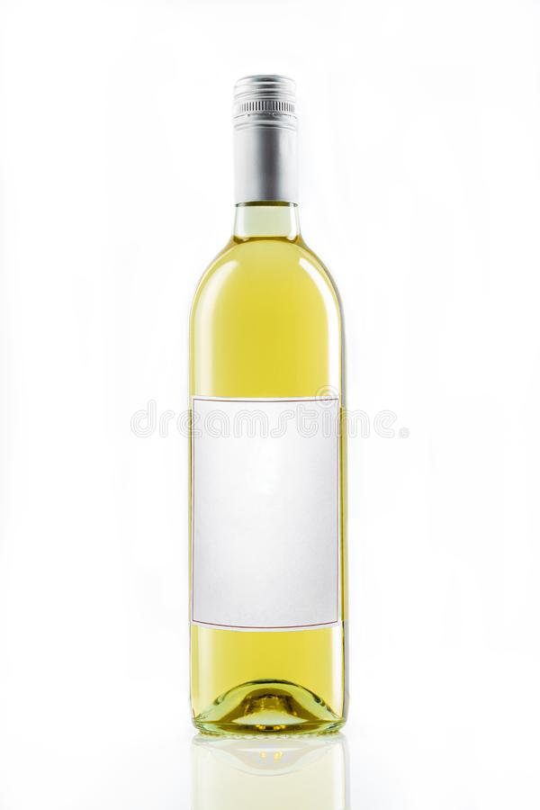 White wine bottle with blank label on black background holiday dring royalty free stock photos