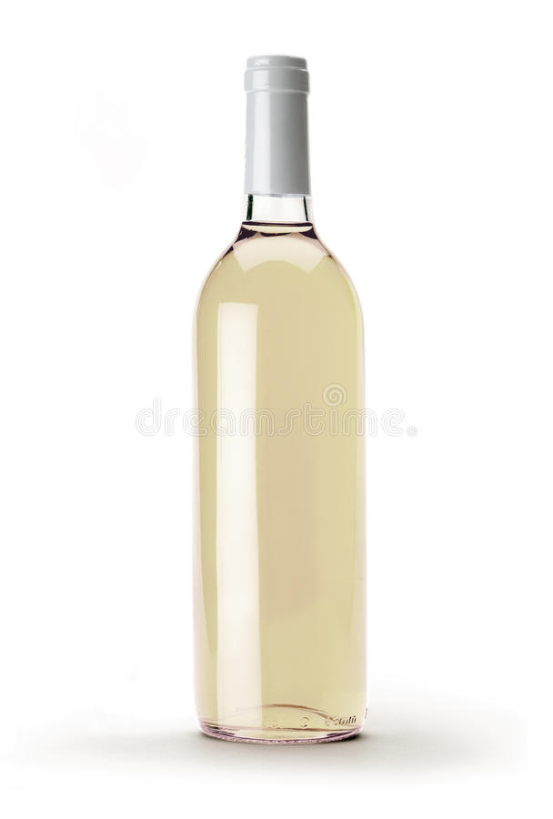 White wine bottle stock photos